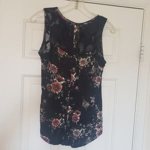 Floral Tank with Lace Yoke and Faux Buttons